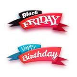 De zwarte die banner van de vrijdagverkoop met lint op witte achtergrond wordt geïsoleerd Stock Fotografie