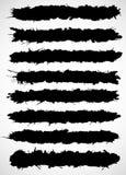 De zwarte die borstelslagen van inkt worden gemaakt ploeteren Stock Foto