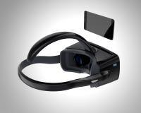 De zwarte die hoofdtelefoon en smartphone van VR op grijze achtergrond wordt geïsoleerd Royalty-vrije Stock Foto's