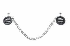 De zwarte die klemmen van het amuletuitsteeksel met ketting op wit wordt geïsoleerd stock afbeelding