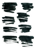 De zwarte die vormen van de inktrechthoek op wit worden geïsoleerd Stock Fotografie