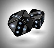 De zwarte dobbelt met diamanten Stock Foto's