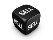 De zwarte dobbelt met verkoopt teken Royalty-vrije Stock Afbeelding