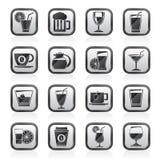 De zwarte een wit drinkt en drankenpictogrammen Stock Foto