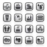 De zwarte een wit kuuroord en ontspant objecten pictogrammen Stock Afbeeldingen
