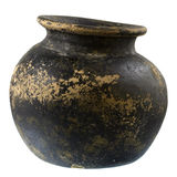 De zwarte en bruine pot van de kleiinstallatie Royalty-vrije Stock Foto