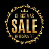 De zwarte en gouden achtergrond van de Kerstmisverkoop Stock Foto's