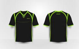 De zwarte en groene uitrustingen van de sportvoetbal, Jersey, het malplaatje van het t-shirtontwerp Royalty-vrije Stock Afbeelding