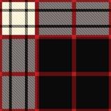 De zwarte en het rood van het geruite Schotse wollen stof Royalty-vrije Stock Foto's