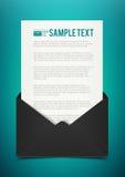 De zwarte envelop van het bedrijfsillustratiemalplaatje met document vector illustratie