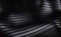 De zwarte futuristische achtergrond van streepgolven 3d geef terug Stock Afbeeldingen