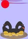 De zwarte ganzen legden gouden eieren Stock Foto's