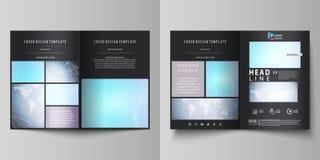 De zwarte gekleurde vector van editable lay-out van twee A4 formaat moderne dekking ontwerpt malplaatjes voor brochure, vlieger,  Royalty-vrije Illustratie