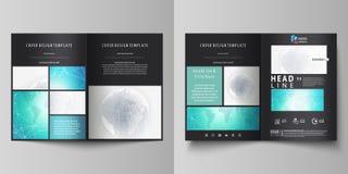 De zwarte gekleurde vectorillustratie van editable lay-out van A4 formaat twee behandelt ontwerpmalplaatjes voor brochure, vliege Royalty-vrije Stock Foto
