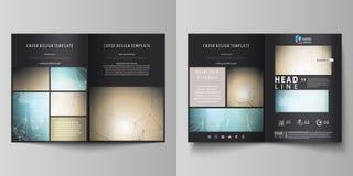 De zwarte gekleurde vectorillustratie van editable lay-out van twee A4 formaat moderne dekking ontwerpt malplaatjes voor brochure Royalty-vrije Illustratie