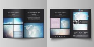 De zwarte gekleurde vectorillustratie van editable lay-out van twee A4 formaat moderne dekking ontwerpt malplaatjes voor brochure Vector Illustratie