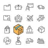 De zwarte geplaatste pictogrammen van de lijnlevering Druk Levering uit, Snelle Levering, die Orde volgen Royalty-vrije Stock Afbeeldingen