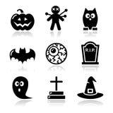 De zwarte geplaatste pictogrammen van Halloween - pompoen, heks, spook Stock Fotografie