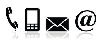 De zwarte geplaatste pictogrammen van het contact - mobiel, telefoon, e-mail, en Royalty-vrije Stock Foto's