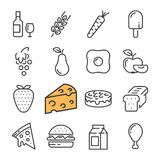 De zwarte geplaatste pictogrammen van het lijnvoedsel Omvat dergelijke Pictogrammen zoals vatwijn, Kaas, Tarwe, Aardbei, Pizza stock illustratie