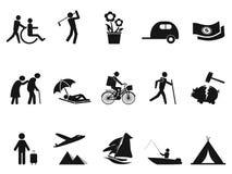De zwarte geplaatste pictogrammen van het pensioneringsleven vector illustratie