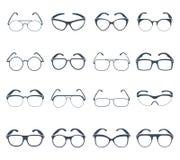 De zwarte geplaatste pictogrammen van zonnebrilglazen Royalty-vrije Stock Afbeelding