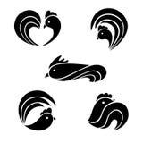 De zwarte gestileerde hanen Royalty-vrije Stock Foto's