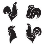 De zwarte gestileerde hanen Stock Afbeeldingen