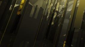 De zwarte gouden donkere abstracte achtergrond van het kolomglas Stock Foto's
