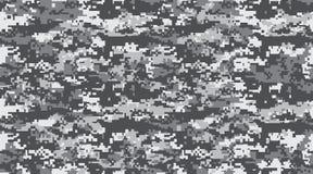 De zwarte grijze en witte camouflage herhaalt naadloos Het maskeren camo Klassieke kledingsdruk Vector Zwart-wit naadloos patroon vector illustratie