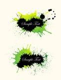 De zwarte, groene achtergrond van de grungebanner Royalty-vrije Stock Foto