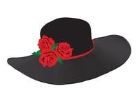 De zwarte hoed van de dame met rode rozen Stock Foto's