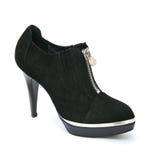 De zwarte hoge schoen van hielvrouwen met ritssluiting Royalty-vrije Stock Foto's