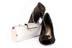 De zwarte hoge schoenen van hielvrouwen. Royalty-vrije Stock Foto's