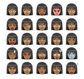 De zwarte Illustratie van Meisjesbob hairstyle emoticons cartoon vector royalty-vrije illustratie