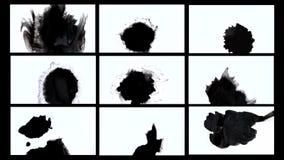 De zwarte inktvlek spreidt zwarte inktvlek uit uitspreidt stock videobeelden