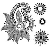De zwarte inzameling van het de bloemontwerp van de lijnkunst overladen Stock Afbeelding