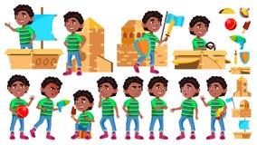 De zwarte, Jonge geitje van de de Jongenskleuterschool van Afro het Amerikaanse stelt Vastgestelde Vector Weinig kind Het Stuk sp royalty-vrije illustratie