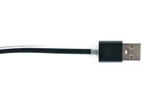 De zwarte kabel van de usbschakelaar op witte achtergrond Horizontaal kader Stock Foto