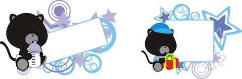 De zwarte kat draagt leuk babybeeldverhaal copyspace Royalty-vrije Stock Foto