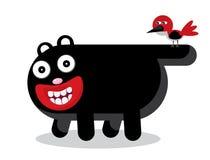 De zwarte kat van het beeldverhaal en een rode vogel Stock Foto