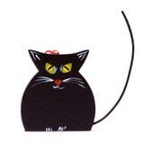 De zwarte kat van Kerstmis op wit Royalty-vrije Stock Foto's