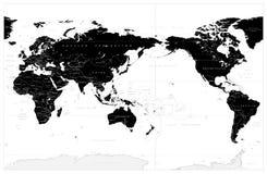 De Zwarte Kleur Gecentreerde de Stille Oceaan van de wereldkaart stock afbeeldingen