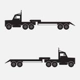 De zwarte kleur van de aanhangwagenvrachtwagen Stock Afbeelding