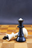 De zwarte koningin wint de witte koning Royalty-vrije Stock Afbeelding