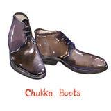 De zwarte laarzen van leerchukka Royalty-vrije Stock Foto