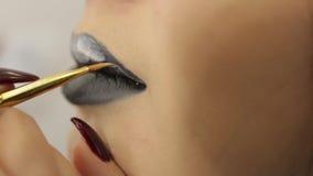 De Zwarte Lippenstiftmake-up stock video