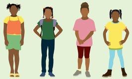 De zwarte Meisjes van de Basisschool Stock Afbeeldingen