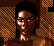 De zwarte is Mooi! Een overweldigend dicht gezicht van een mooi zwarte in een realistische 3d digitale kunst geeft formaat terug royalty-vrije stock foto