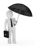 De zwarte paraplu van de zakenman Stock Afbeeldingen